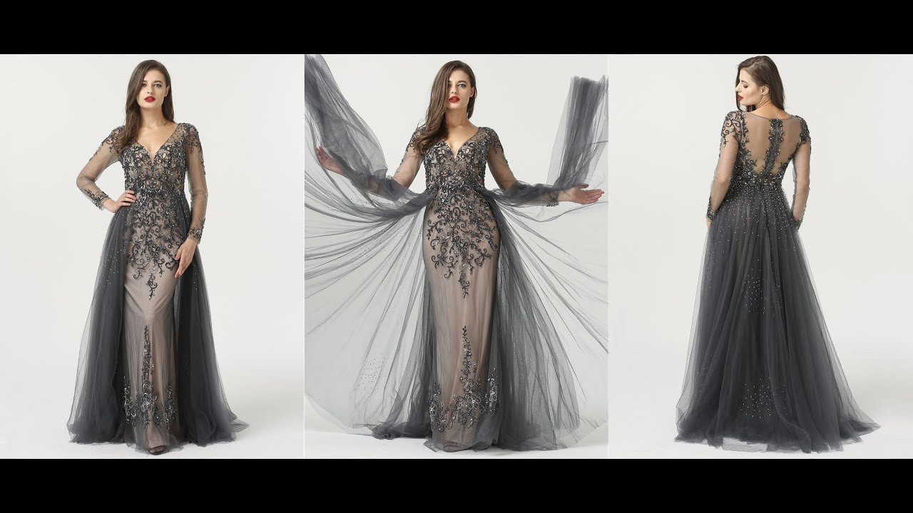 Luxus Abendkleid Ballkleid Langarm Tüll Perlen Glitzer - Youtube