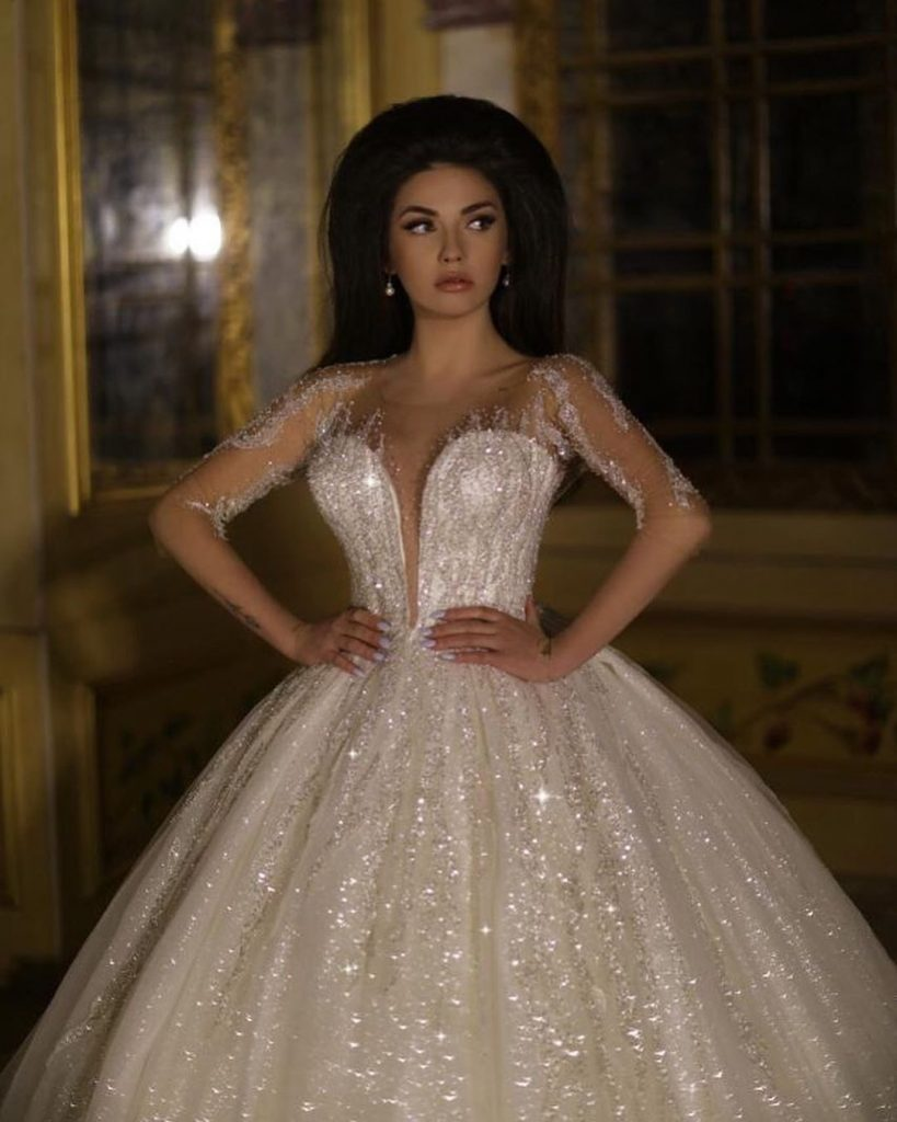 Luxus Brautkleid Mit Ärmel  Prinzessin Hochzeitskleid Mit