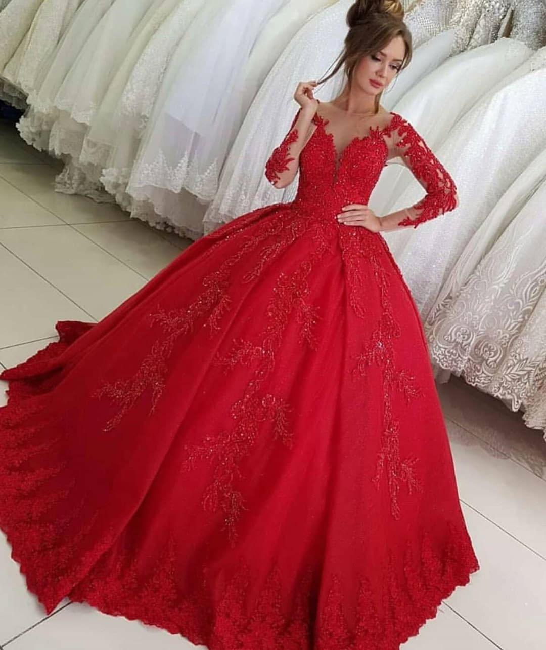 Luxus Rote Hochzeitskleider Mit Ärmel | Brautkleider