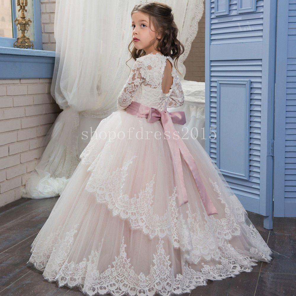 Mädchen Blumenmädchen Kleid Abendkleid Kommunions Hochzeit