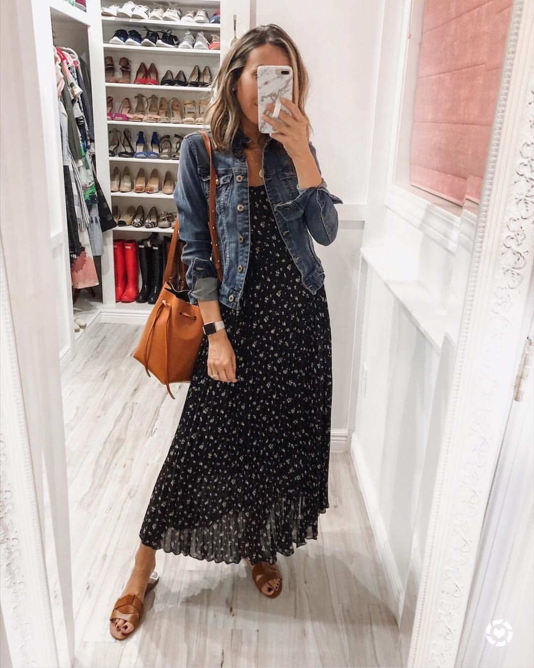 Maxi Dress With Denim Jacket For Spring. Throw On And Go