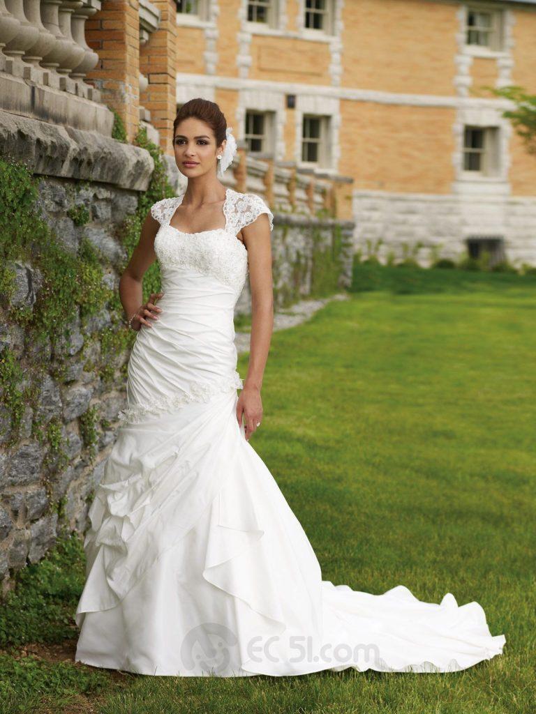 Meerjungfrau Kurz-Ärmeln Satin Brautkleid [#ud12 - Abendkleid Design
