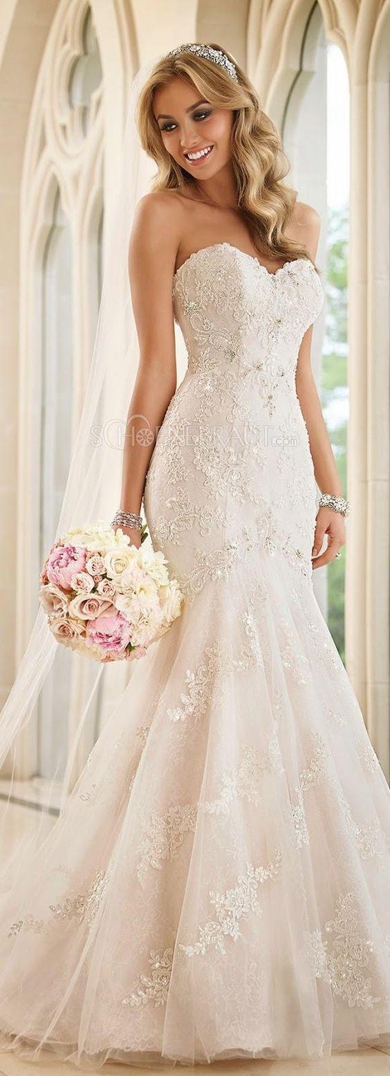 Meerjungfrau Spitze Brautkleid Trägerlos Hochzeitkleid Lace
