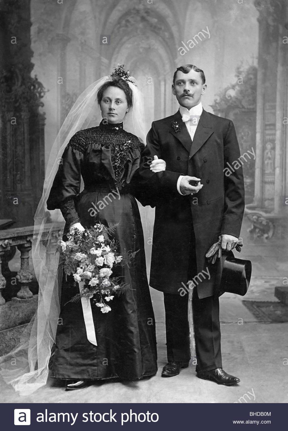 Menschen, Paare, 1900 - 1930, Hochzeitsbild Von A. Eberwein