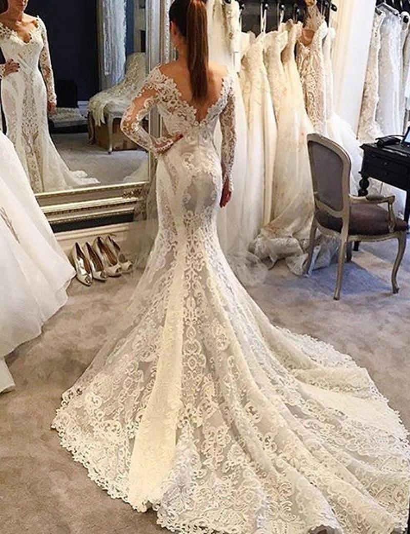 Mermaid V-Ausschnitt Lange Ärmel Gericht Schleppe Hochzeitskleid Mit Spitze  Applikationen