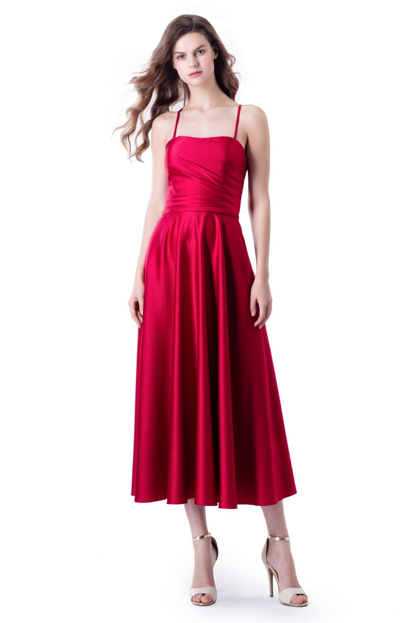 Midi Corsagenkleid Aus Satin | Kleider, Abendkleid Und