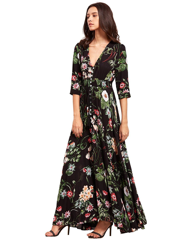 Milumia Women's Button Up Split Floral Print Flowy Party