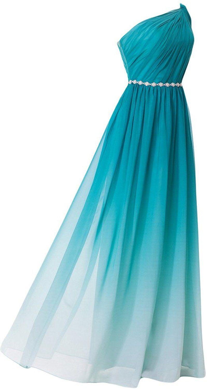 Missdressy Damen Chiffon Abendkleid Lang Ein-Traeger Falte A