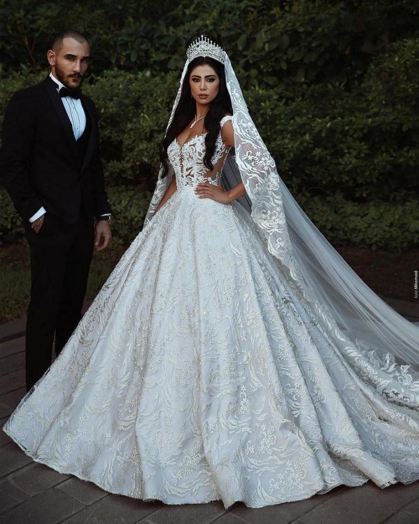 Modern Weiße Hochzeitskleider A Linie Spitze Brautkleider - Abendkleid