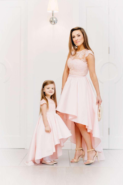 Mutter Tochter Abendkleid In Rosa Vokuhila Maßanfertigung
