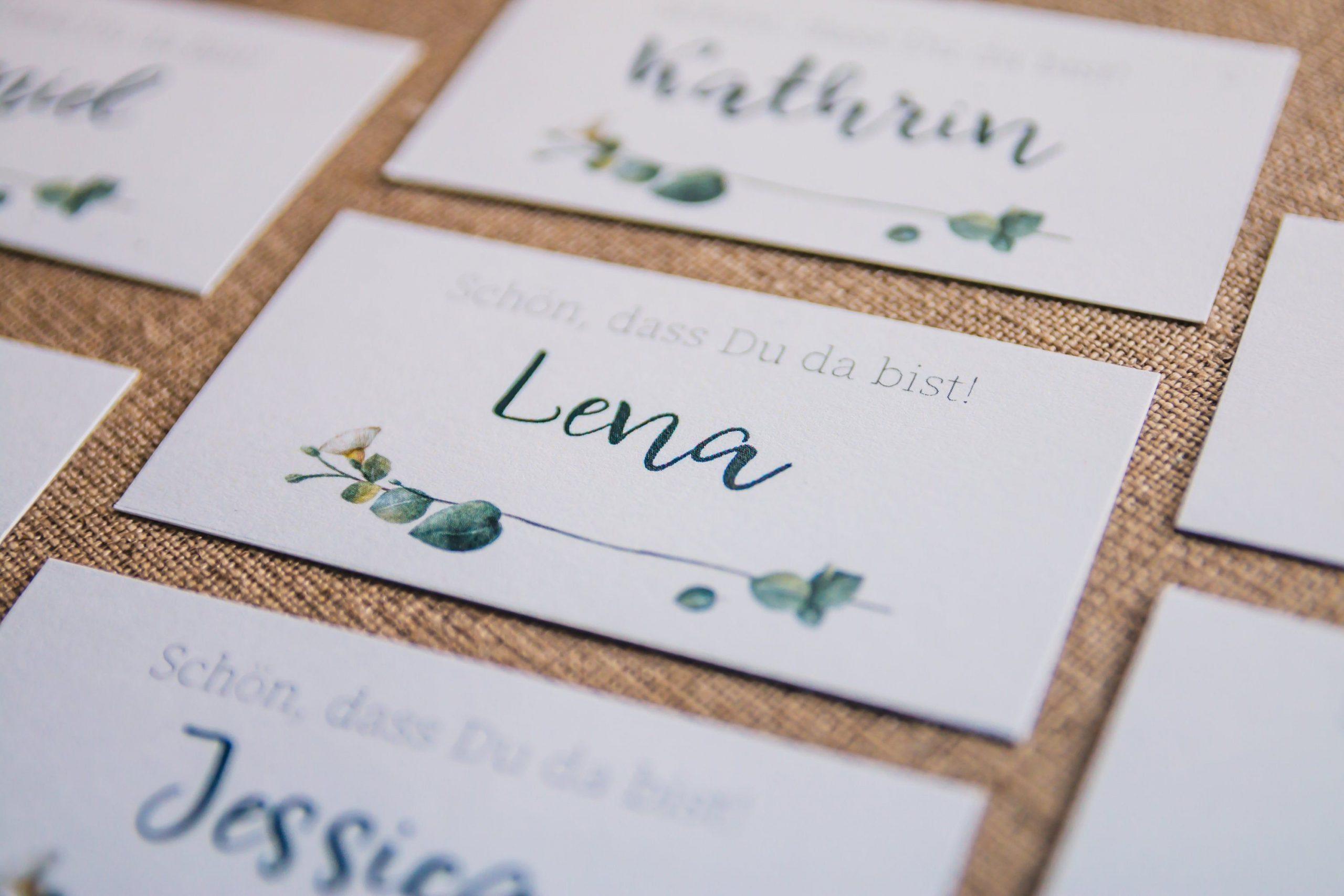"""Namensschild """"eukalyptus"""", Greenery Hochzeit, 10 Stück Im"""