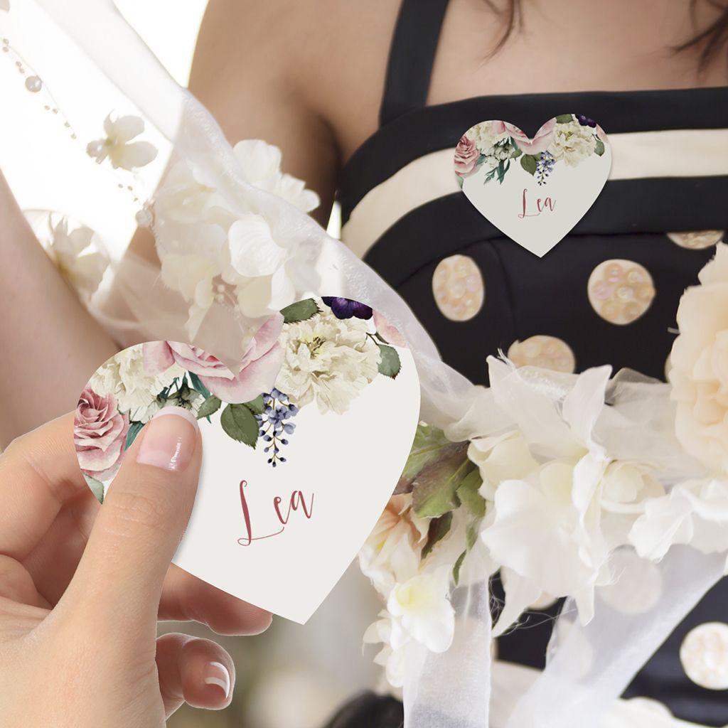 Namensschild In Herzform Für Ihr Hochzeitsfest Mit Vintage