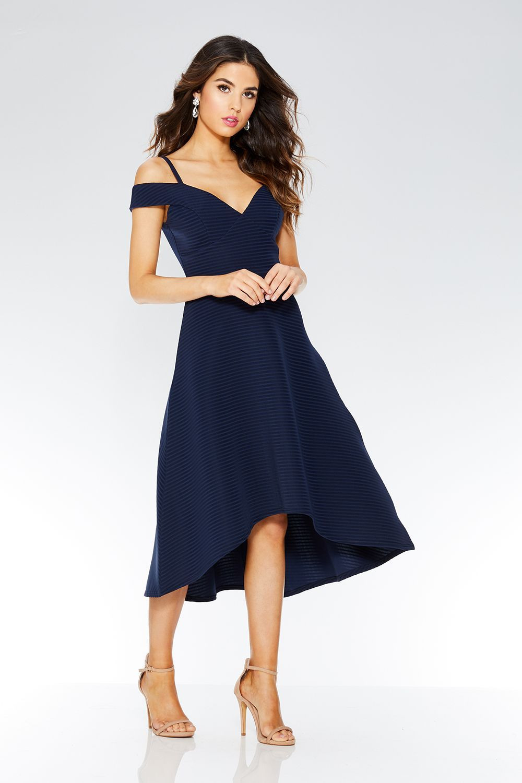 Navy Stripe Detail Dip Hem Dress - Quiz Clothing | Chique
