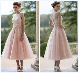 Neu Kurz Rosa Spitze Tüll Brautjungfernkleid Angefertigt