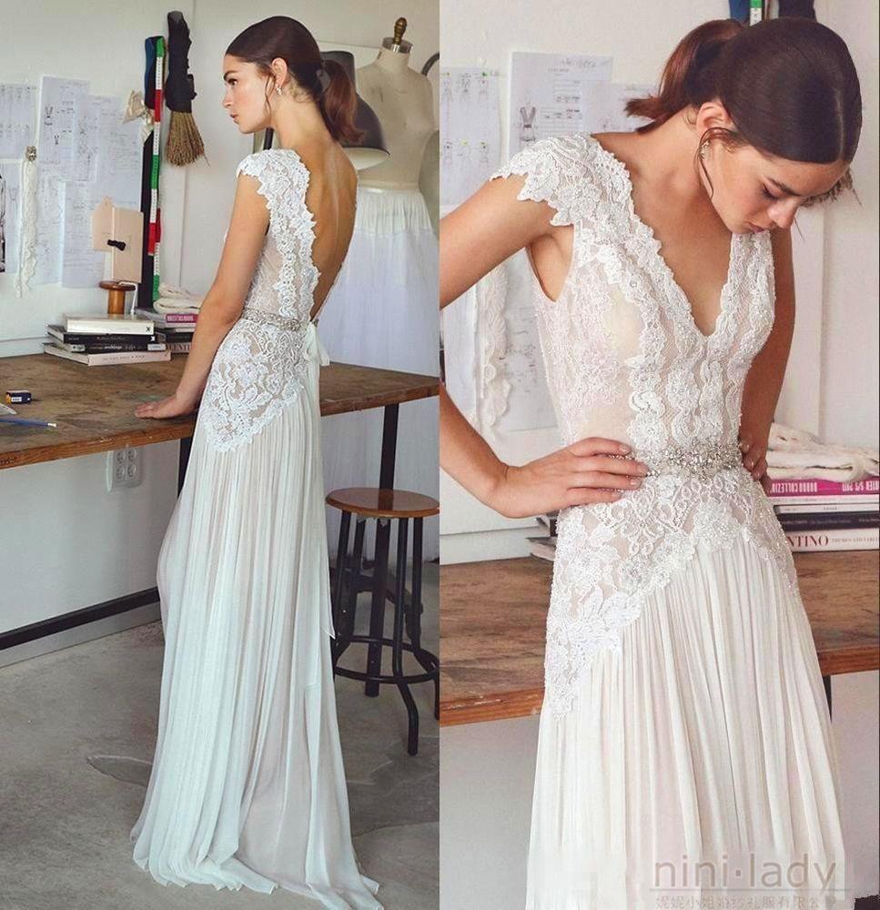 Neu Strand Hochzeitskleider Chiffon Spitze Boho Brautkleid