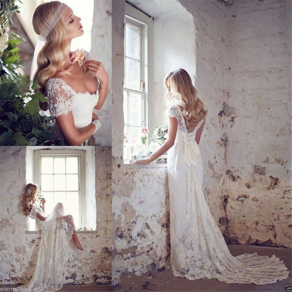 Neu Weiß/elfenbein Spitze Brautjungfer Hochzeitskleid
