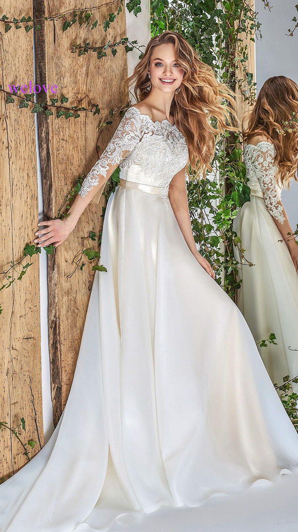 Neue Ankunft Vintage Hochzeit Kleider 2019 Sheer Neck