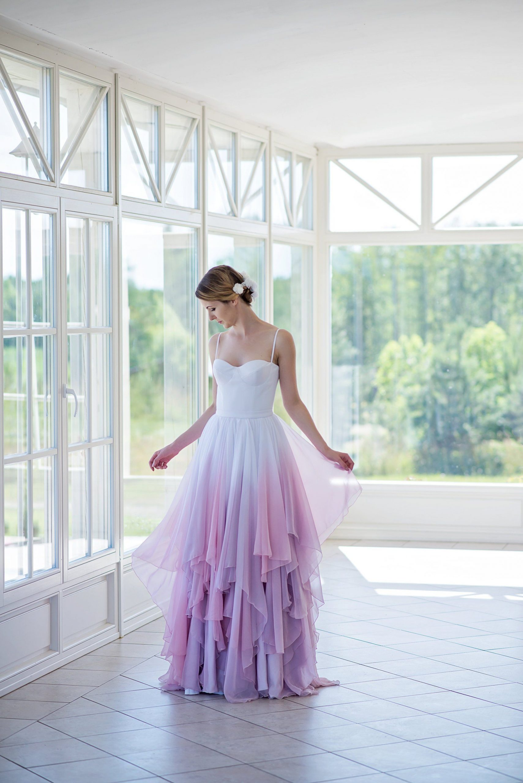 Ombre Wedding Dress Flowing Chiffon Bridal Gown Colorful