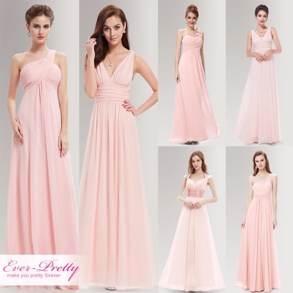 Peachy Rosa Lange Brautjungfer Kleider Elegante Eine Linie