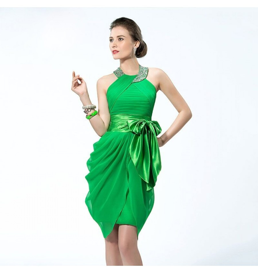 Plissee Cocktailkleid Kleid Grün