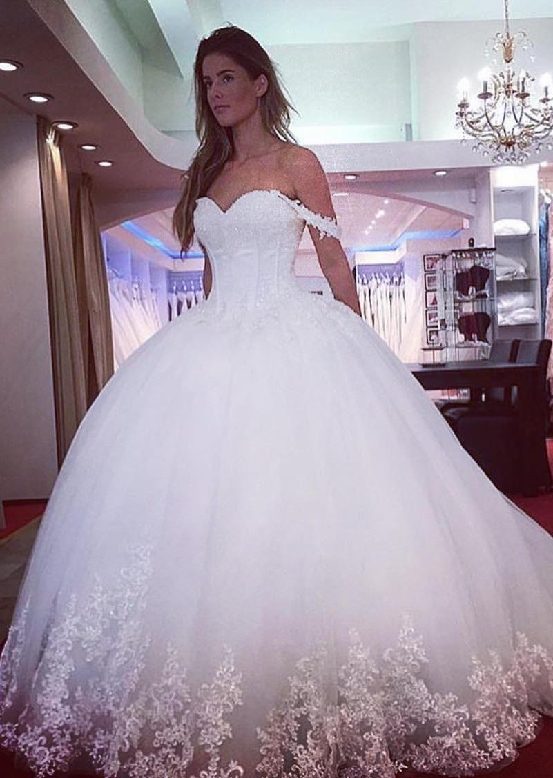 Prinzessin Weiß Brautkleider Mit Spitze Schulterfrei Tüll