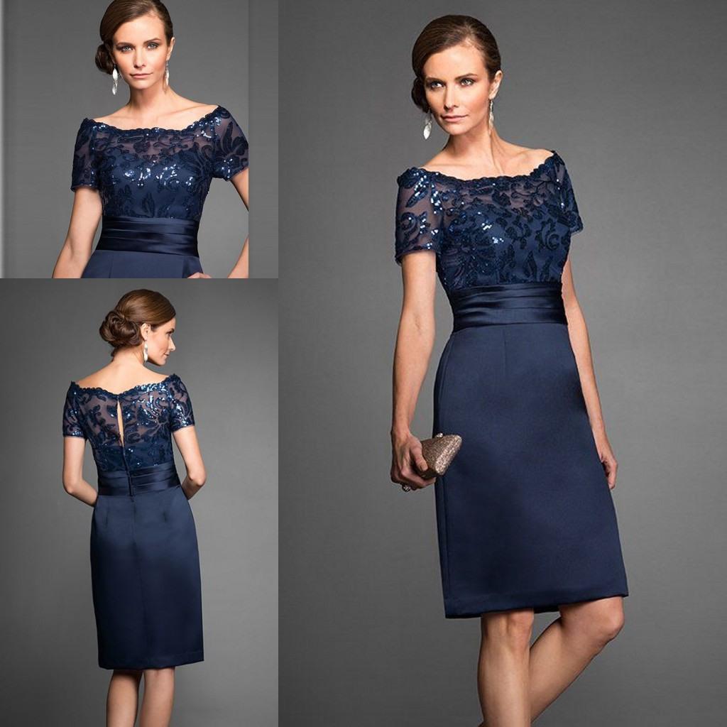 Rabatt Kurze Blaue Elegante Mutter Braut Kleid | 2020 Kurze