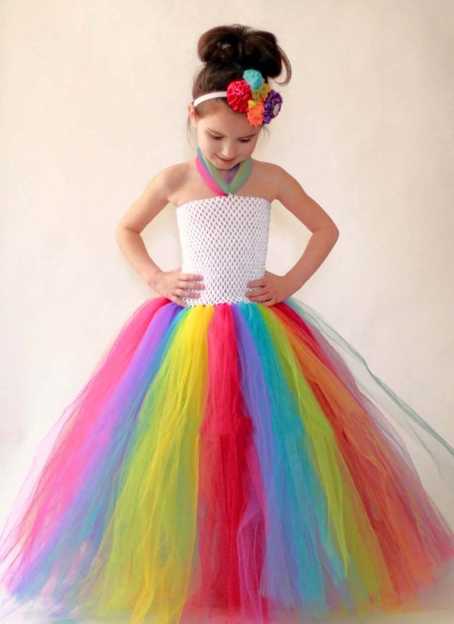 Regenbogen Mädchen Kleid Prinzessin Sommer Kinder Tutu Kleid