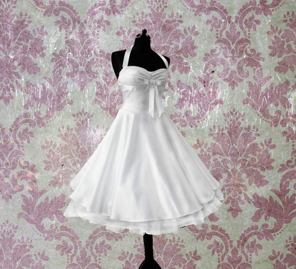Rockabilly Brautkleid Knielang Hochzeitskleid 50Er Ivory