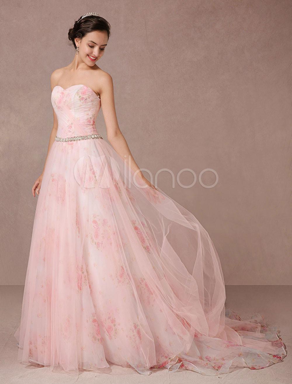 Rosa Kleid Blumen Hochzeit Druckt Tüll Brautkleid Trägerlos Sweetheart  Quinceanera Kleid Strass Schärpe Rückenfreie Festzug Kleid
