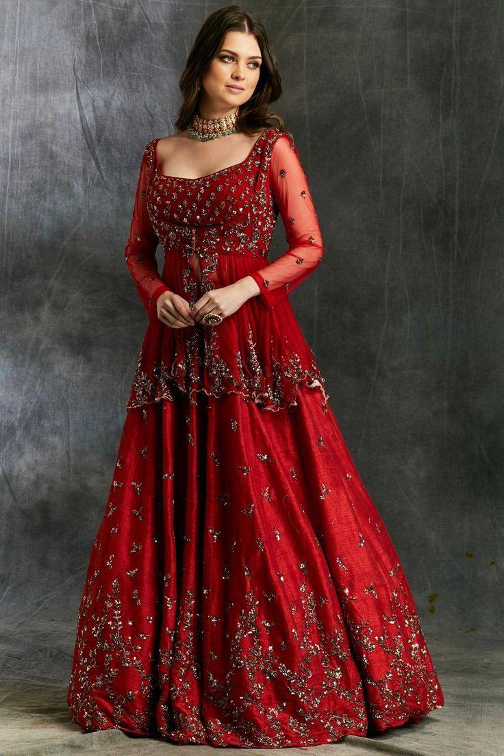 Rote Farbe Beste Exklusive Kollektion #bridallehengacholi Im