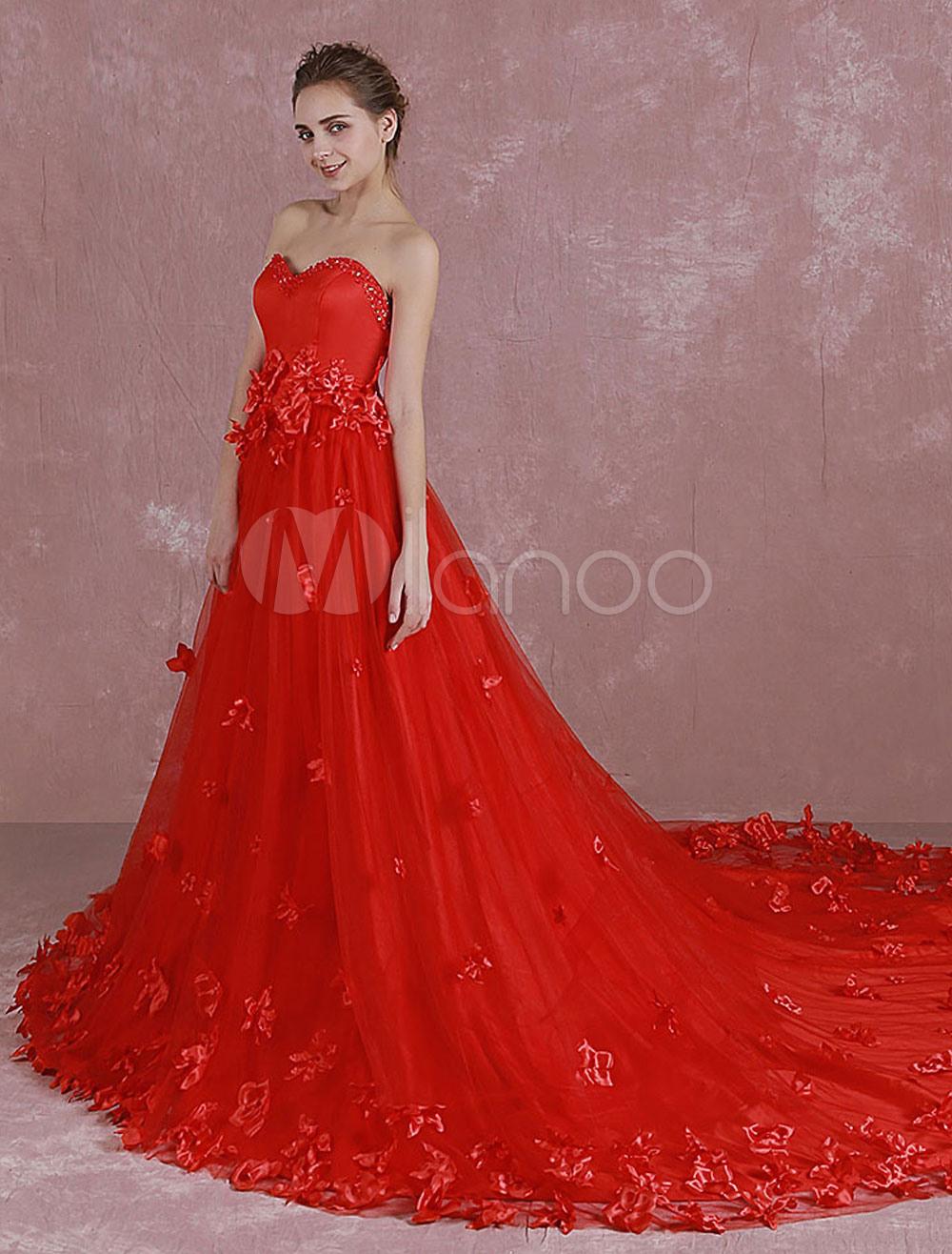 Rote Hochzeit Kleid Sweetheart Trägerlosen Pailletten Brautkleid 3D Blumen  Applikation Eine Linie Kathedrale Zug Abendkleid