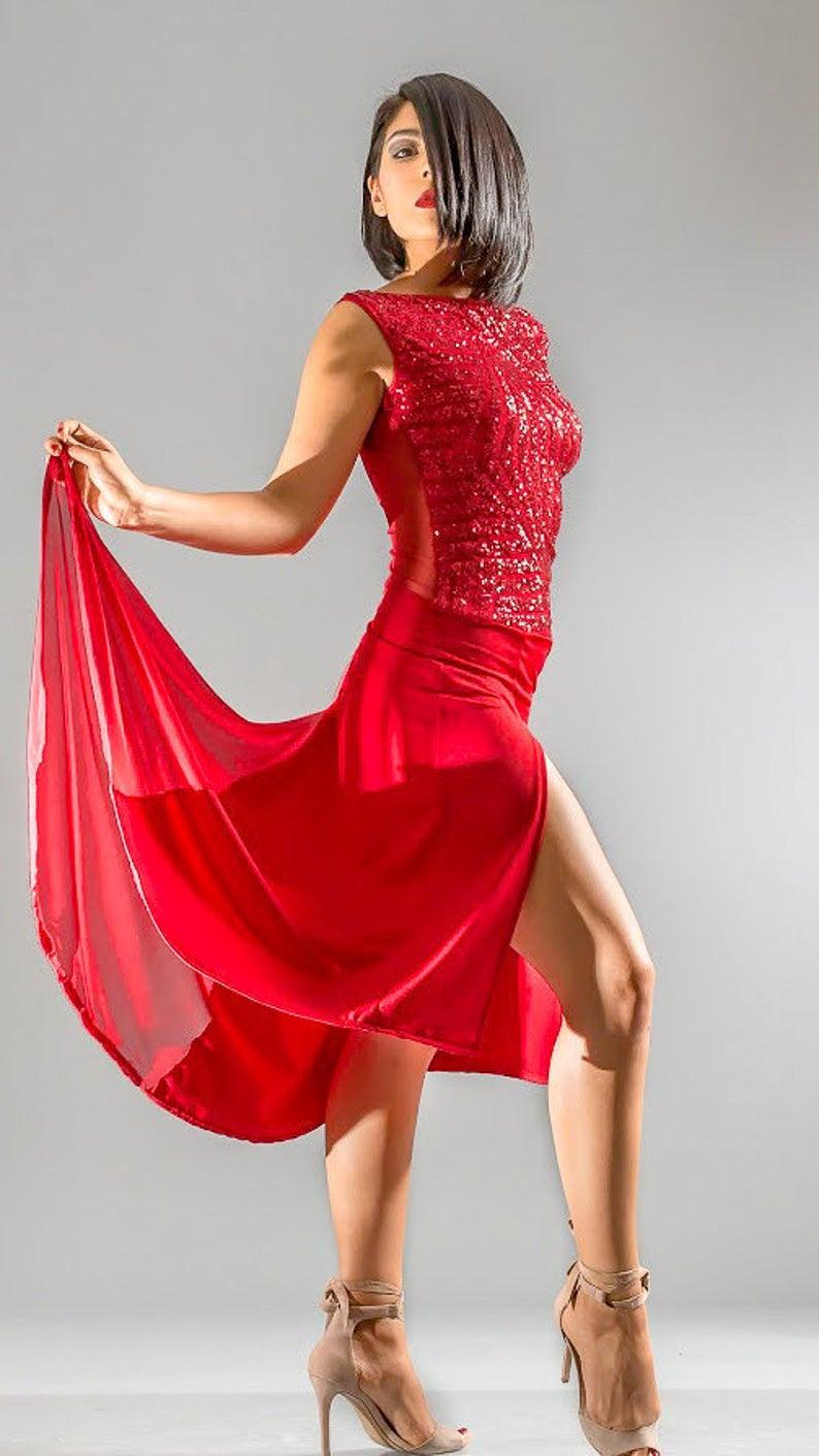 Rote Pailletten Tango Leistung Kleid Seitenschlitz Mit Rückseite Zug Tango  Mit Liebe