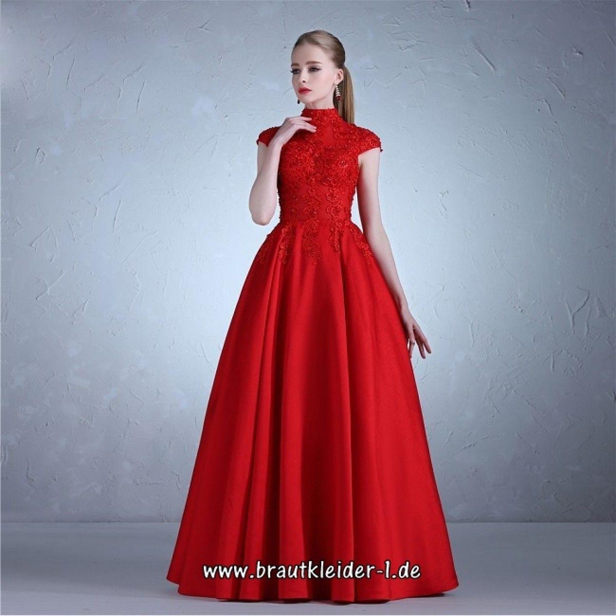 Rotes Brautkleid Online Hochgeschlossen | Brautkleid