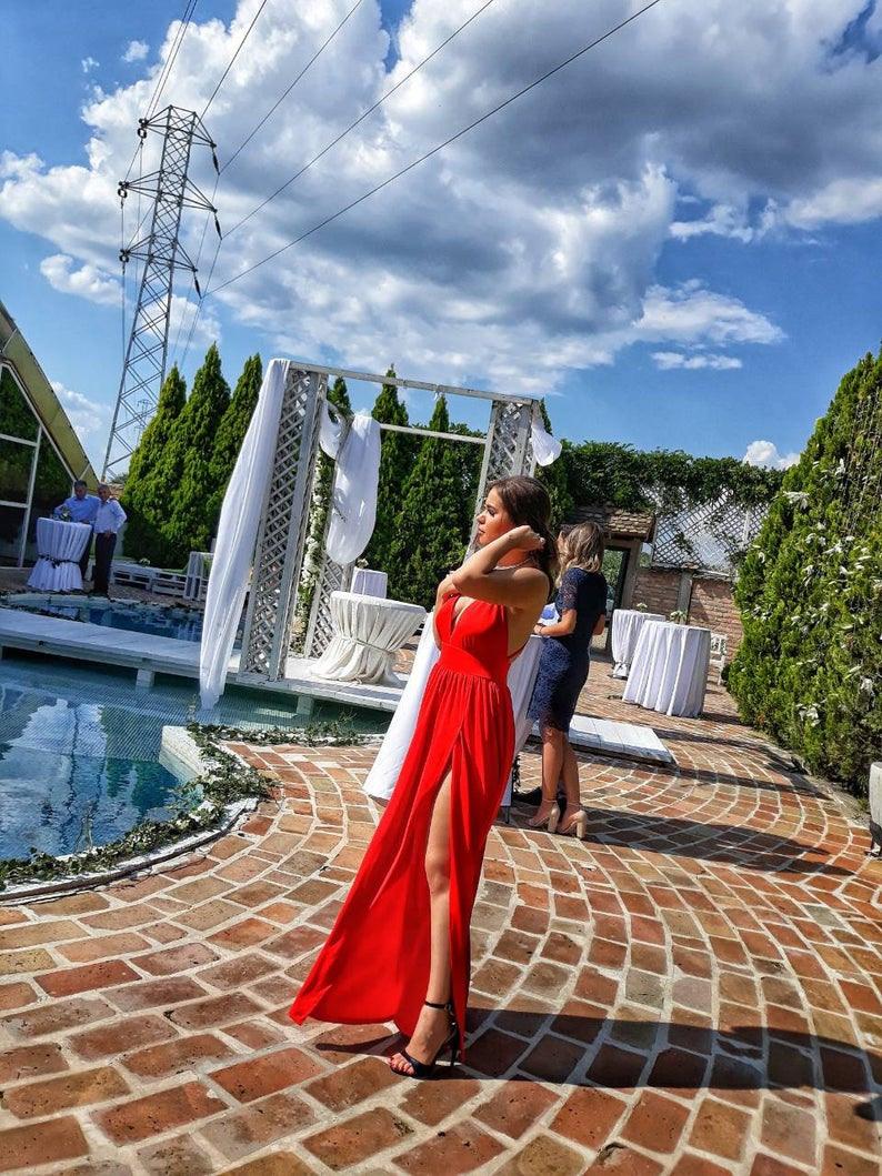 Rotes Kleid / Brautjungfer Kleid / Prom Kleid / Lange Senrotes Kleid/kleid  Mit Nacktem Rücken/sleeveless Kleid / Offene Rückseite Oben