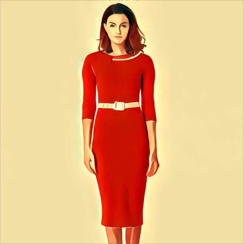 rotes kleid auf ner hochzeit