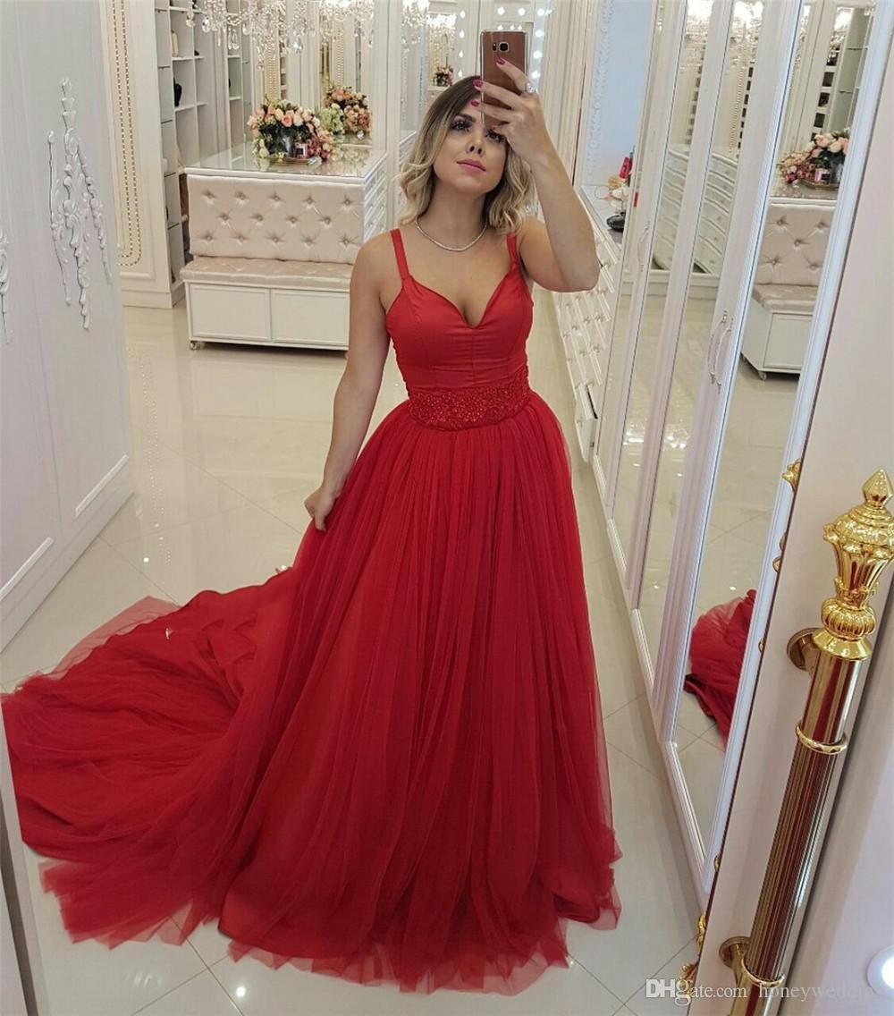 Rotes Langes Abendkleid Schatz-Isolationsschlauchbügel, Der  Tulle-Abschlussball-Kleider 2019 Bördelt Nach Maß