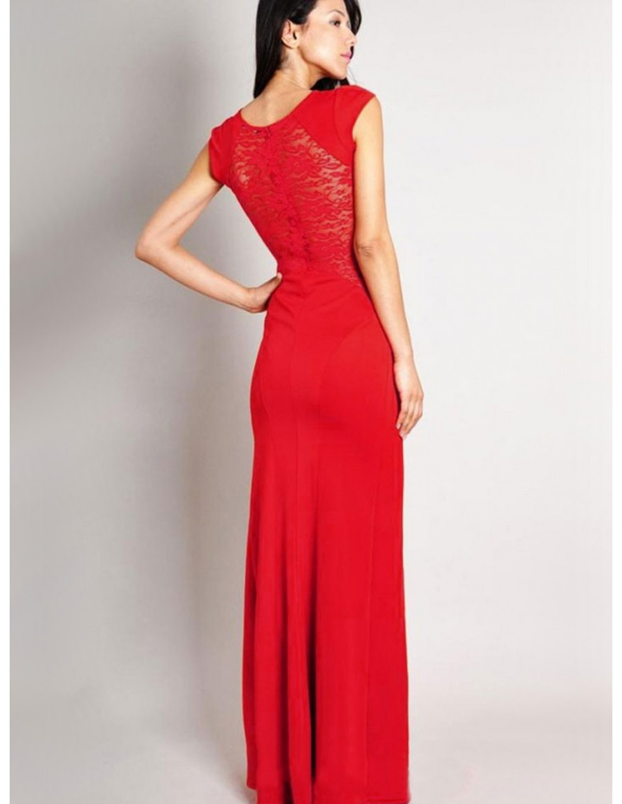 Rotes Langes Kleid. Langes Rotes Chiffon One Shoulder Kleid