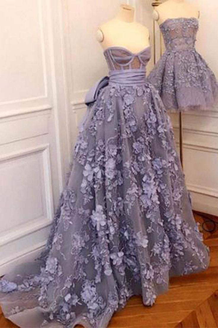 Schatz Lila 3D Blume Langes Abendkleid, Heimkehr Kleid Von