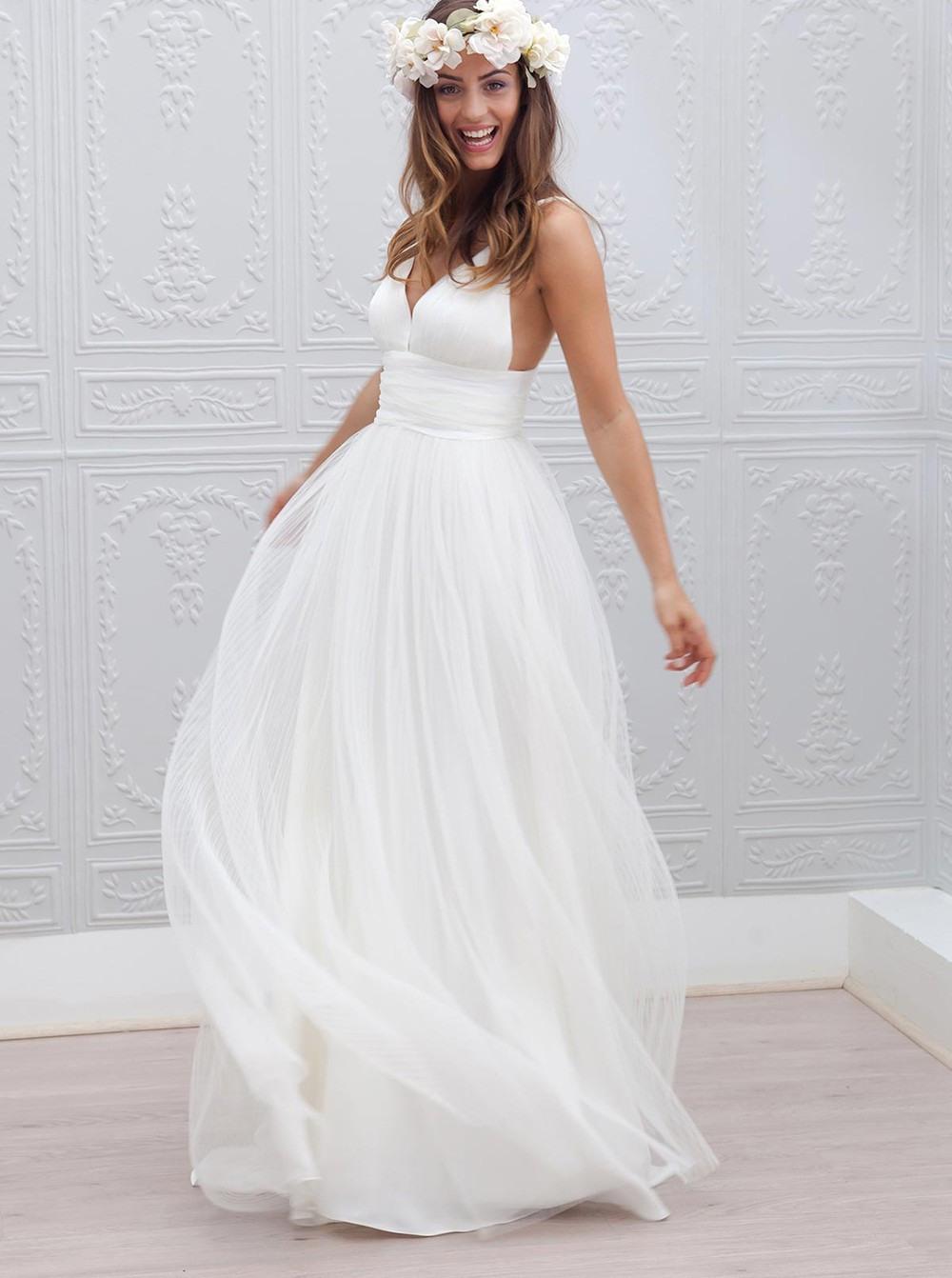 Schlicht V-Ausschnitt Bodenlang Öffnen Rücken Weiß Brautkleid Mit Rüschen  Schärpe