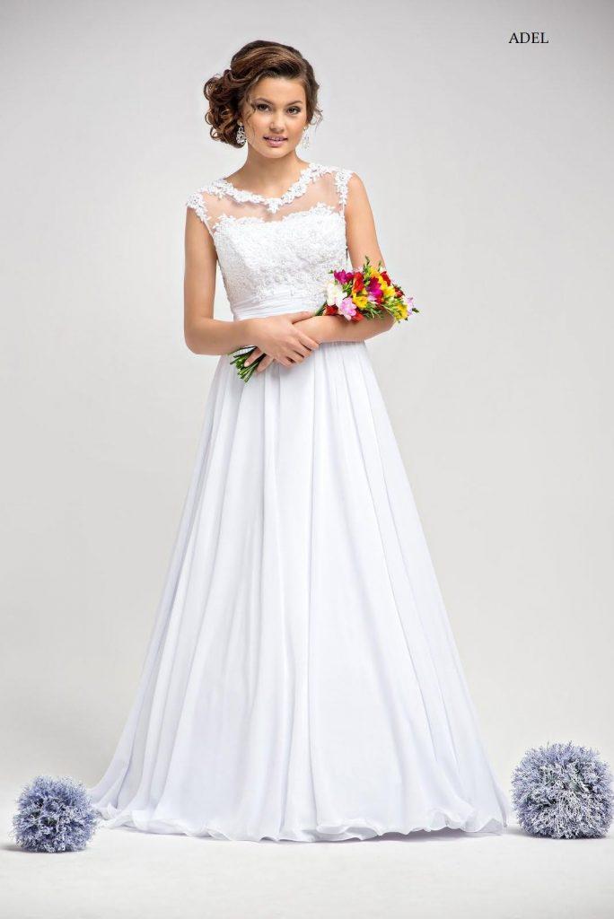 Schlichtes Brautkleid Adel Mit Spitze A Linie Abendkleid