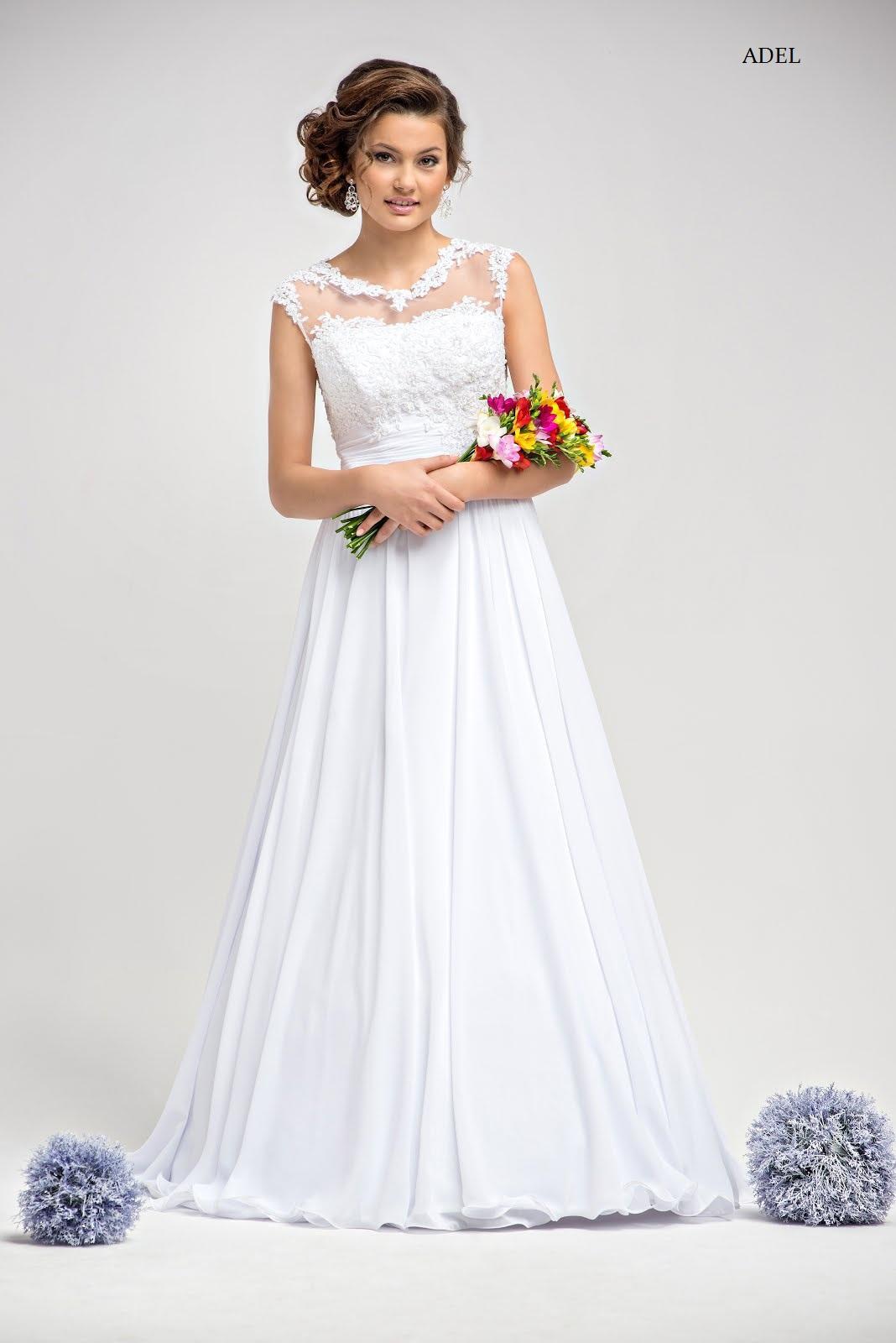 Schlichtes Brautkleid Adel Mit Spitze A-Linie