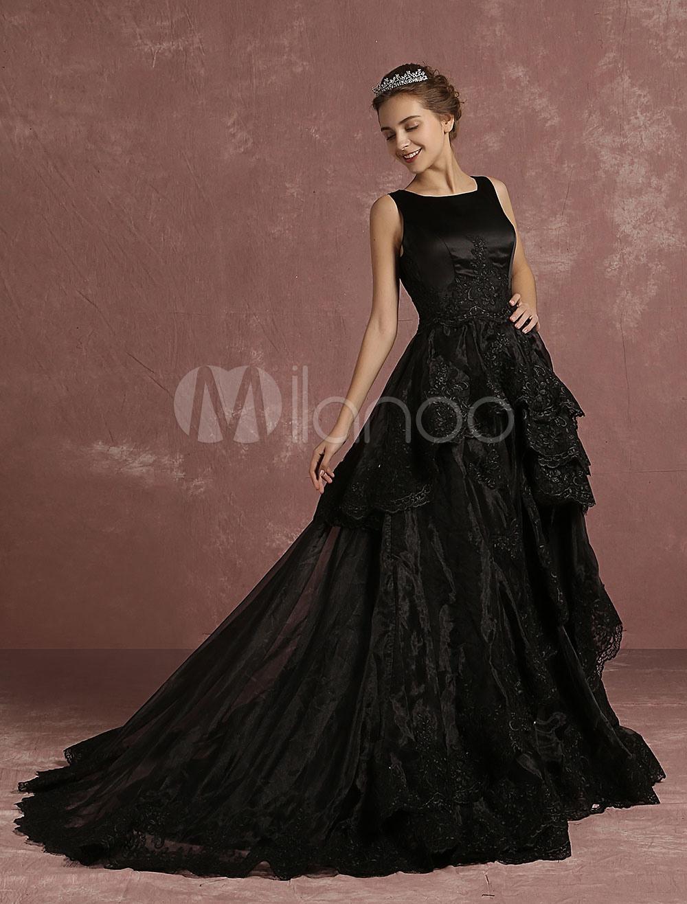 Schwarze Hochzeit Kleid Spitze Applique Brautkleid A Linie Ärmellose  Rundhalsausschnitt Brautkleid Mit Hofschleppe Gestuft