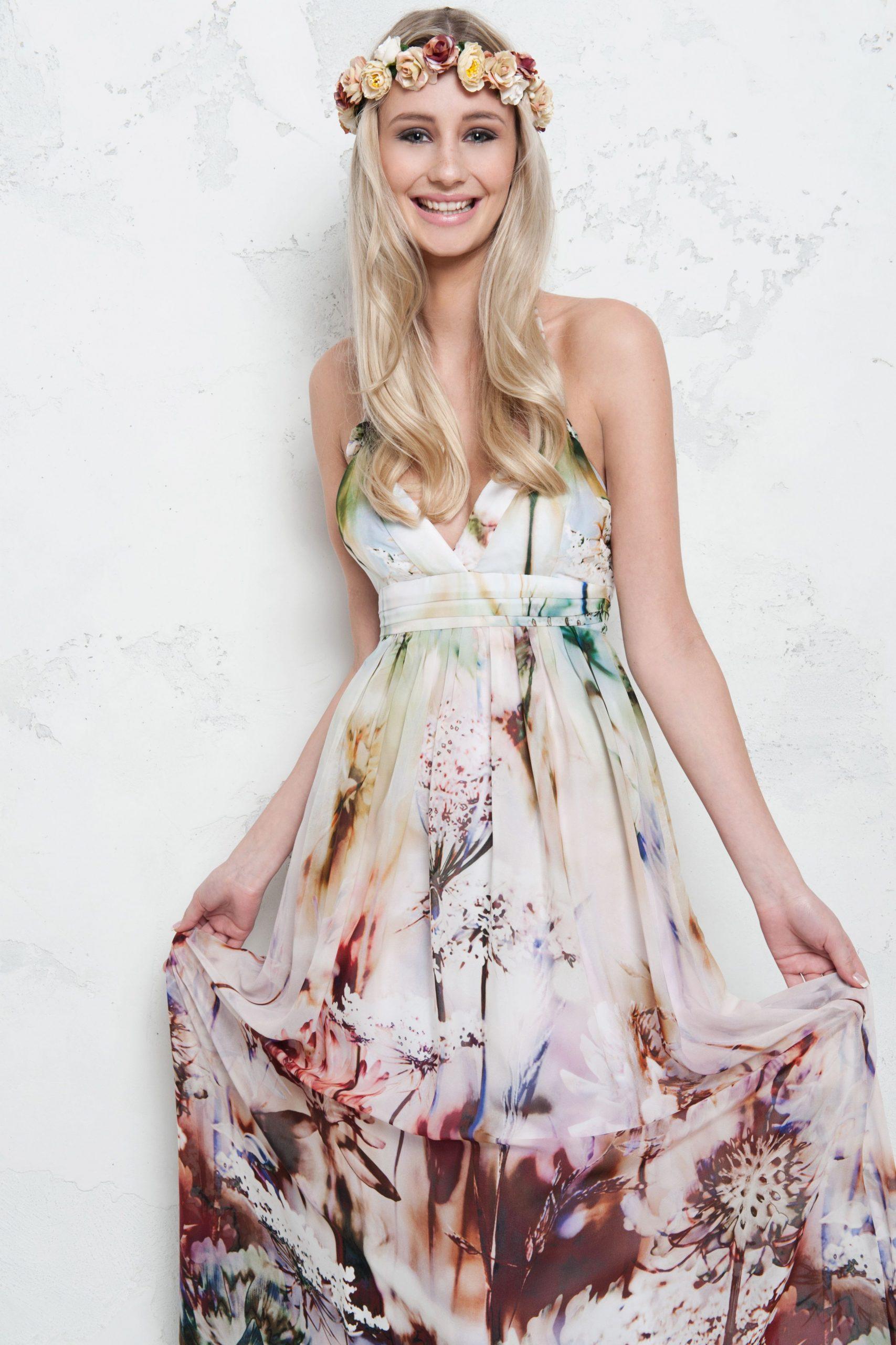 Seidenkleid Mit Blumenprint Von Young Couture. Kleid Mieten