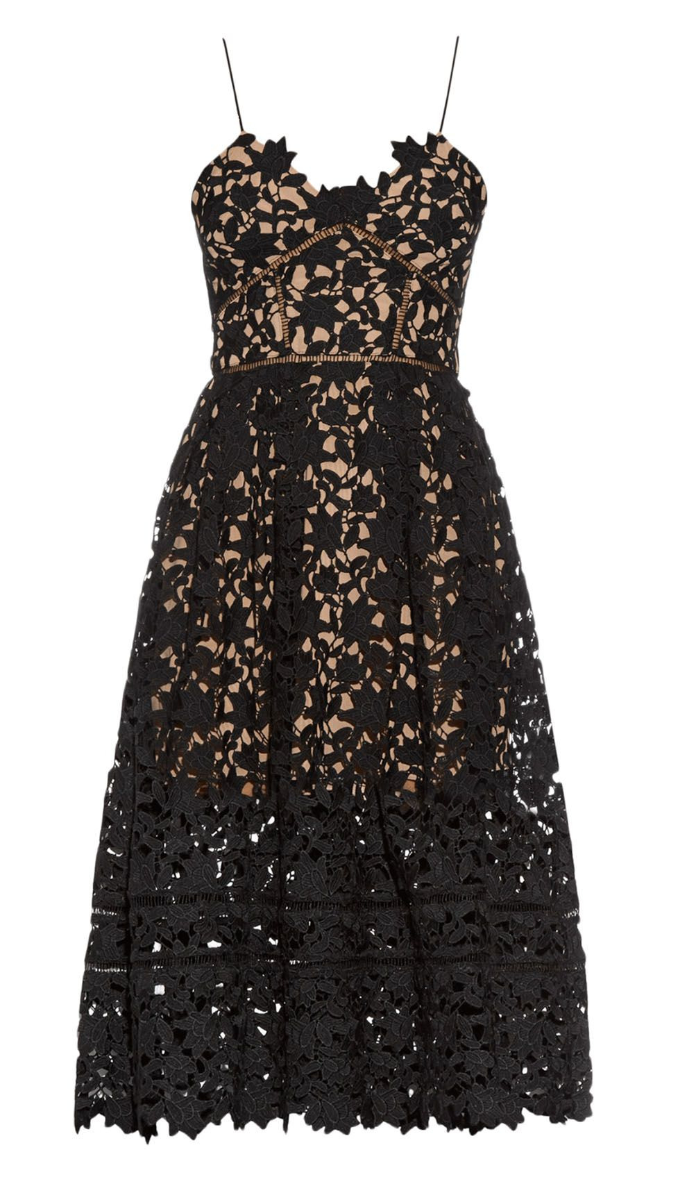 Self-Portrait Black Lace Midi Dress  Designer Kleider - Abendkleid Handy
