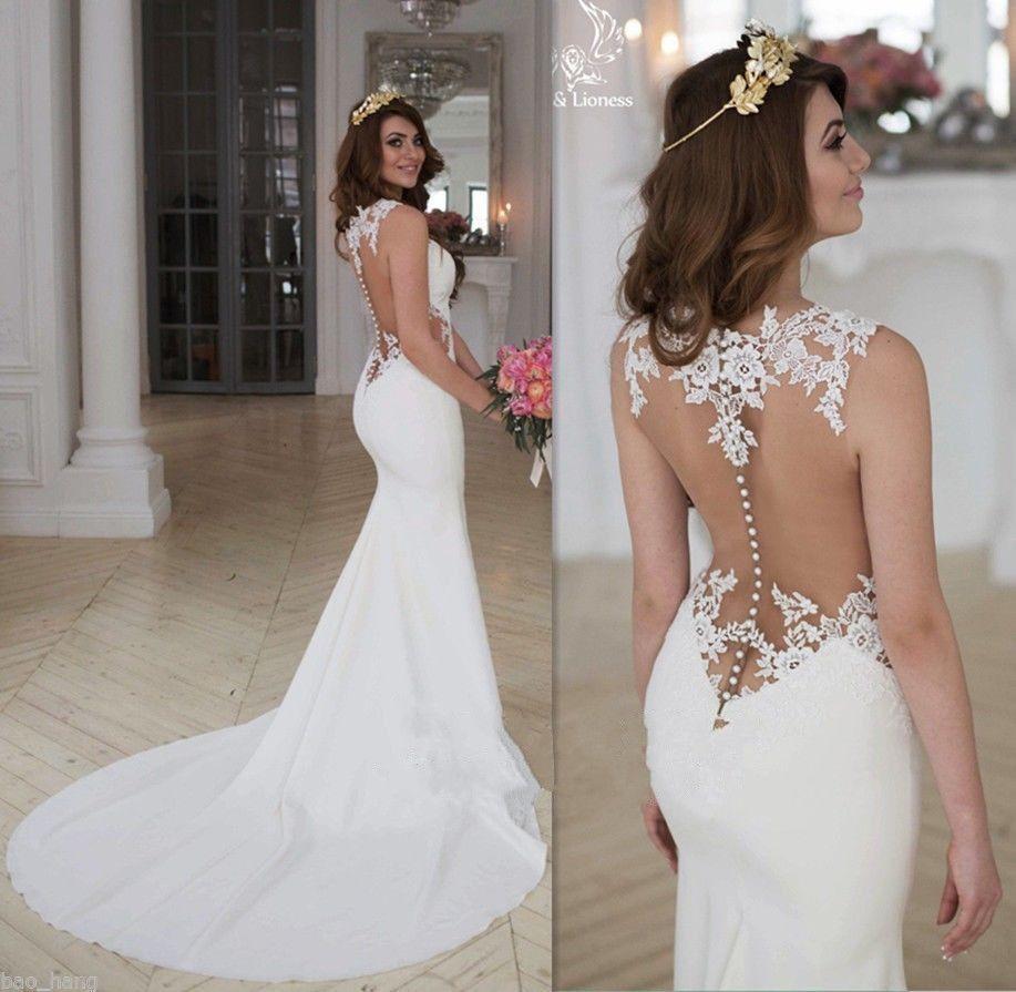 Sexy Elfenbein Brautkleid Abendkleid Partykleid Spitze