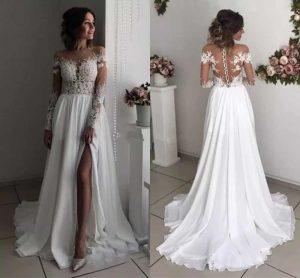 Sexy Long Sleeves Brautkleider Sheer Neck Illusion Appliques Chiffon Slit  Boho Brautkleider Strand Hochzeit Kleider Mit Split