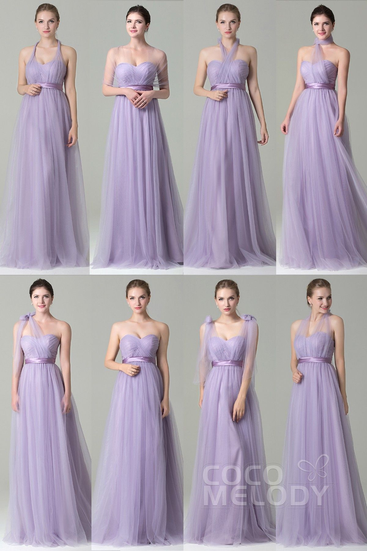 Sheath-Column Floor Length Tulle Bridesmaid Dress Cozf1500B