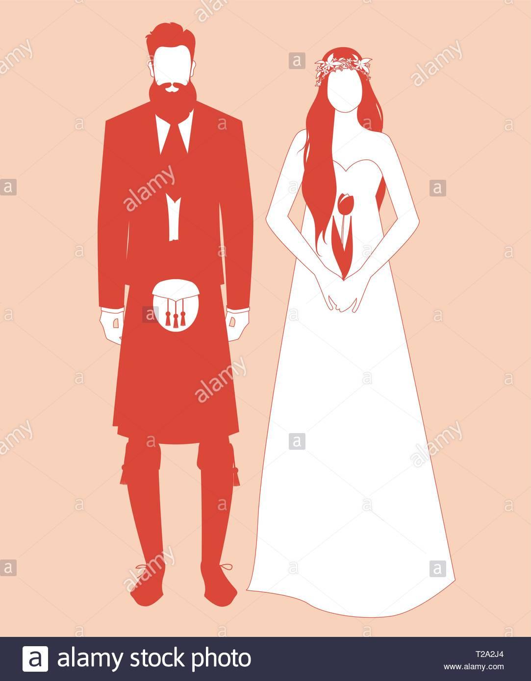 Silhouetten Der Jungvermählten Paar Hochzeit Kleidung Tragen