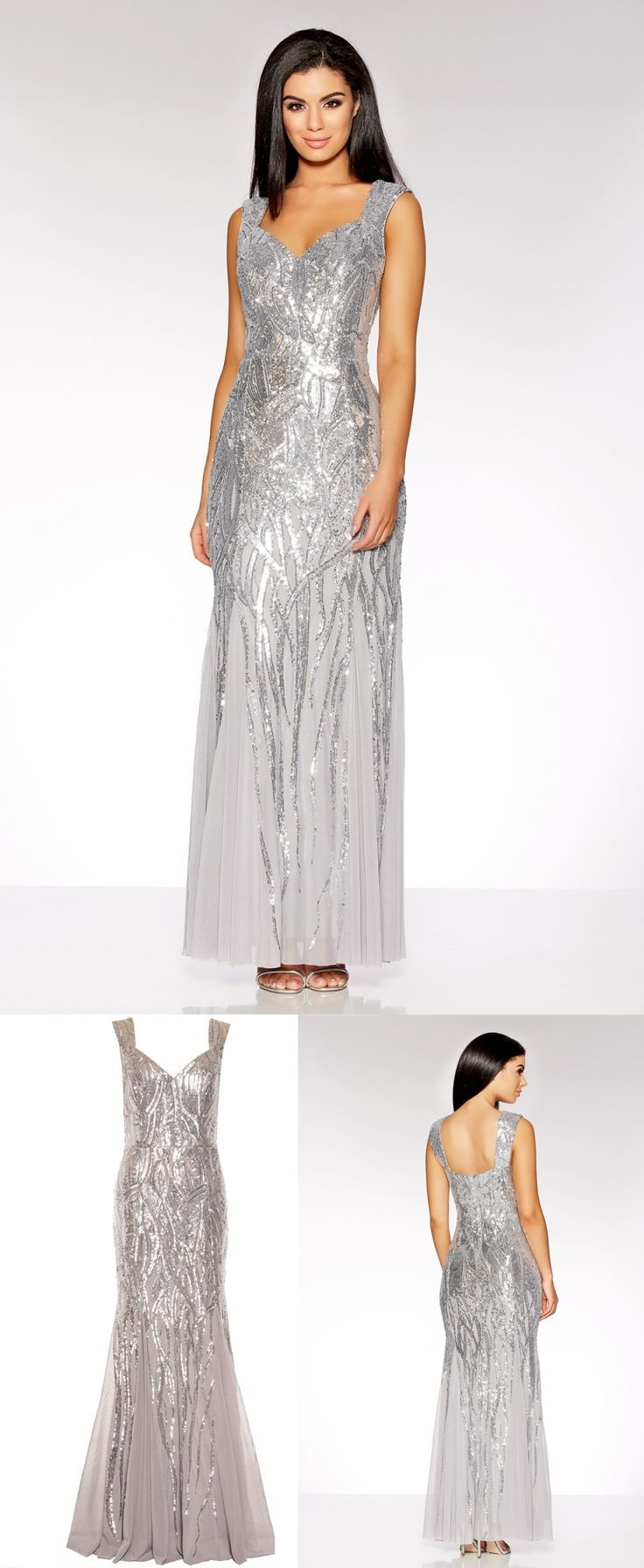 Silver Sequin Sweetheart Fishtail Maxi Dress. From Quiz