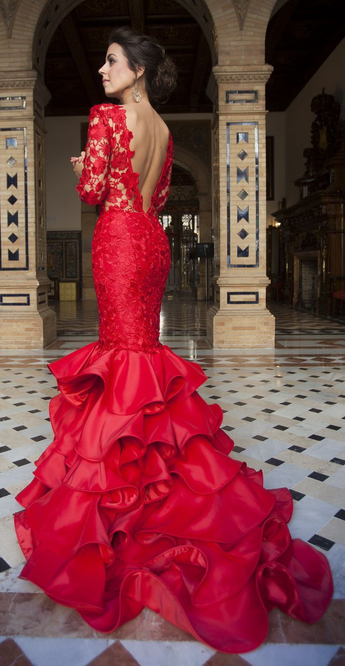 Silvia Navarro Red Lace And Ruffle New Collection Maxi Gown